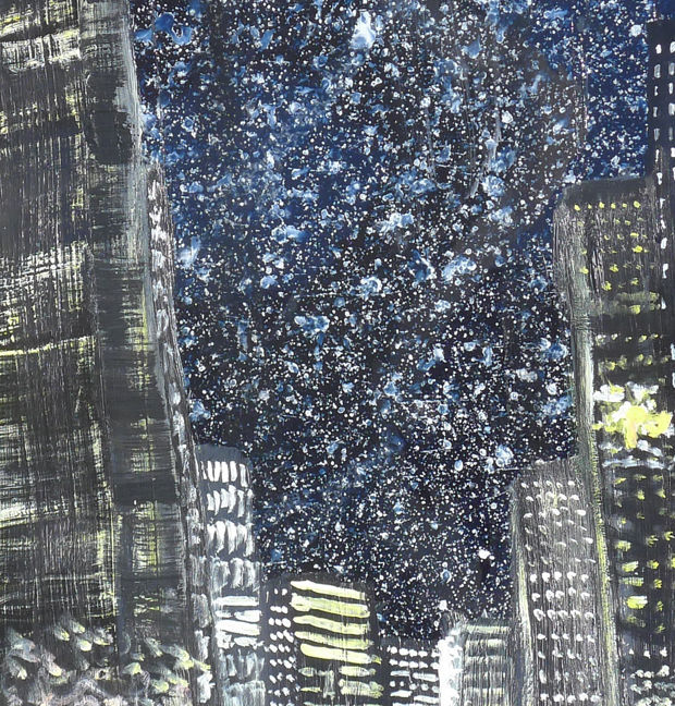 night snowfall in the city - detail
