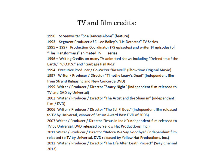 tv and film credits