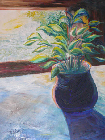 Potted Plant at Sunrise